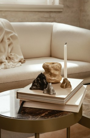 Ferm Living Stone Candle Holder - Small, Messing